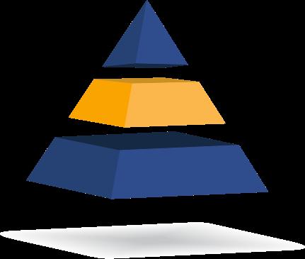pirámide de 3 cuerpos con el segundo iluminado