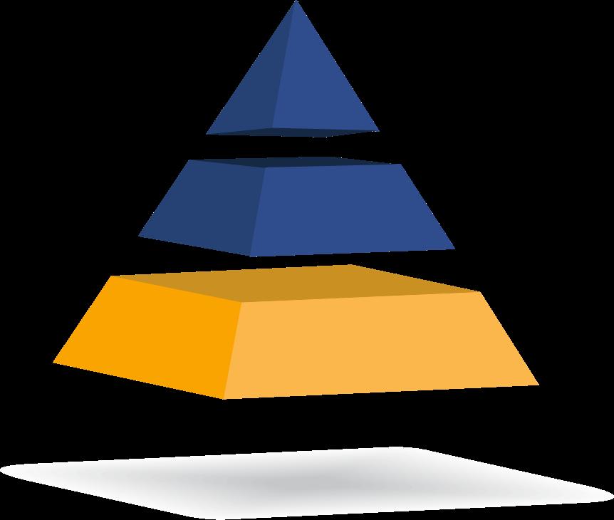 pirámide de 3 cuerpos con el tercero iluminado